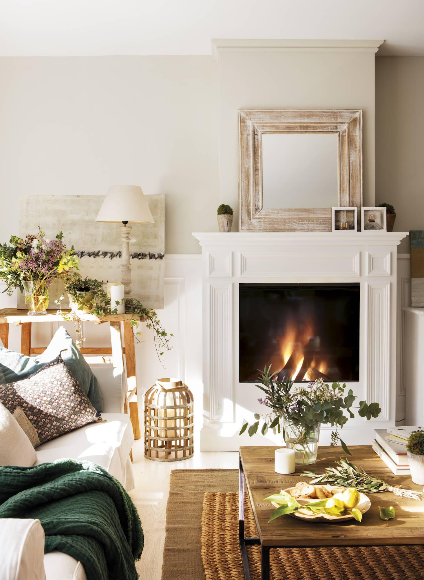 Salones muebles de sal n para un resultado de revista - Chimeneas decorativas en madera ...