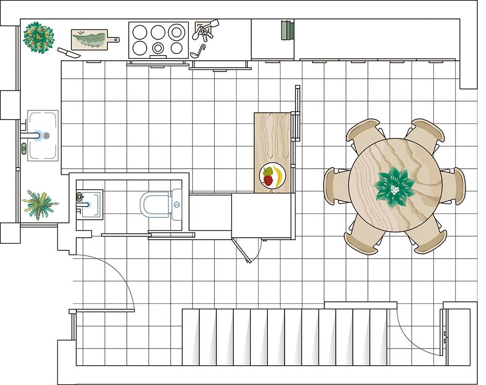 Kitchen-thousand-cabinets-00497492.  The plan: kitchen, office and the entrance to the house