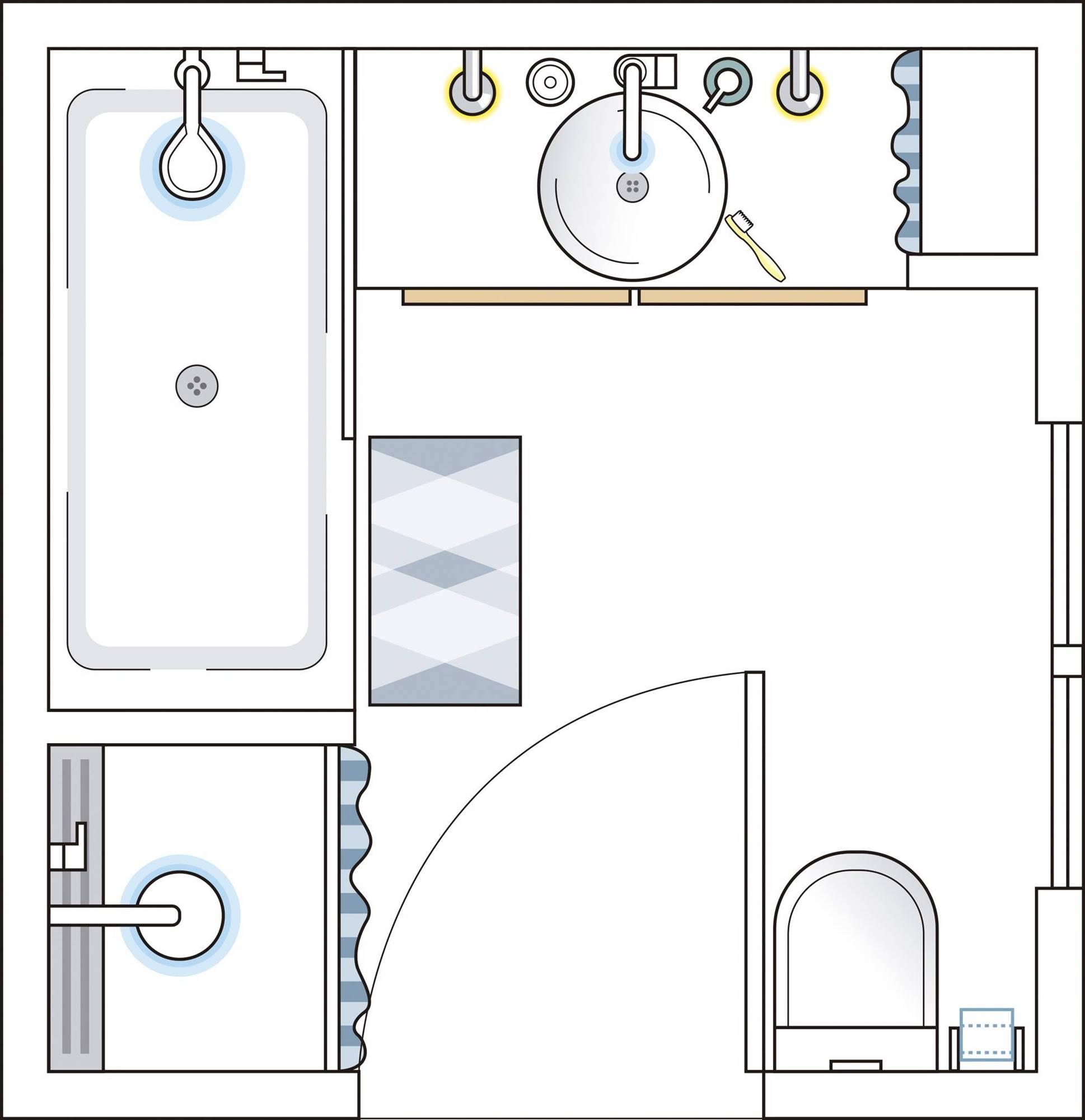 Bathroom plan of less than 6 m2 00498686. A square bathroom