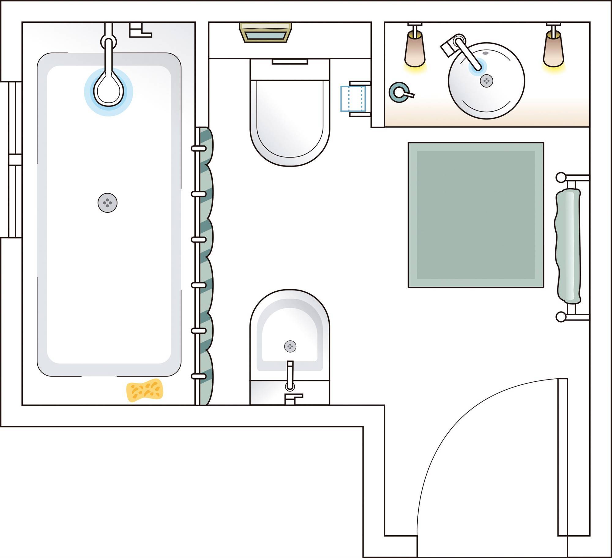 Bathroom plan of less than 6 m2 00498688. Small and with divisions