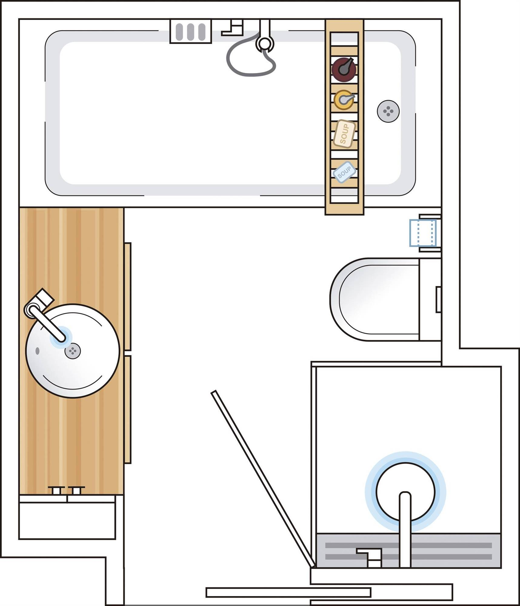 Attic bathroom plan of less than 6 m2 00498687. With shower and bathtub