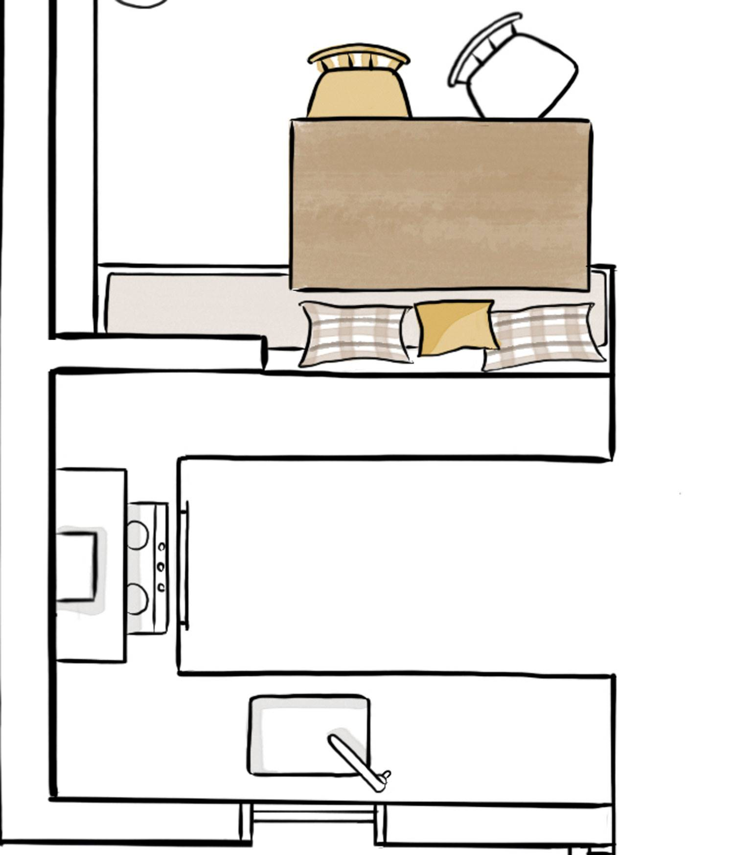 Kitchen plan open to the dining room of less than 6 m2 00480699p.  The distribution is in 'U' with attached office