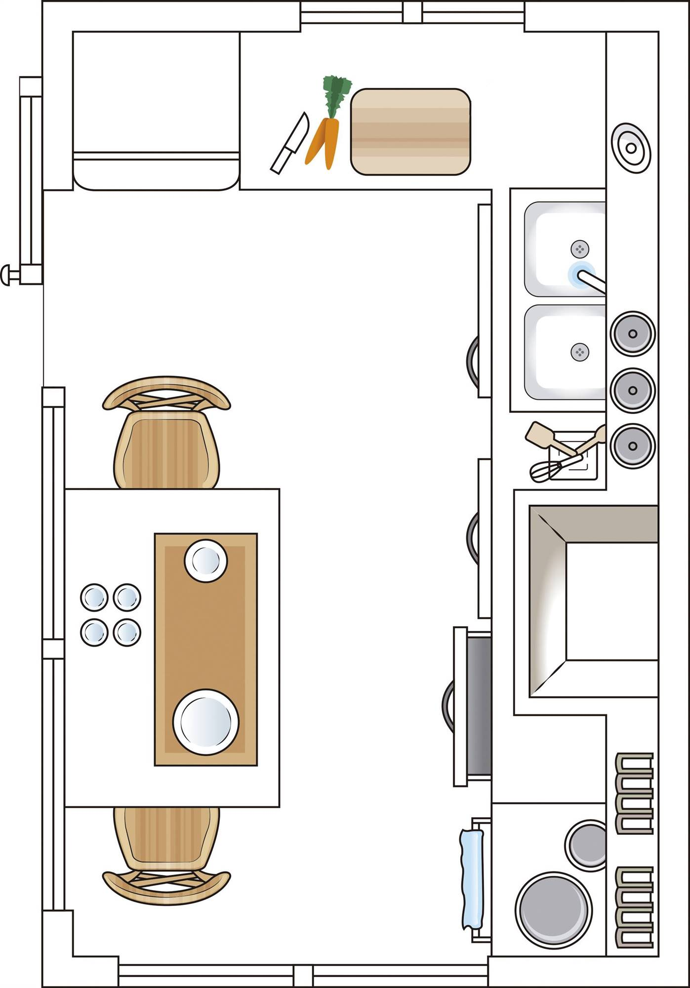 Kitchen plan separated from the dining room with a window of less than 6 m2 00498685. Projected in 'L'