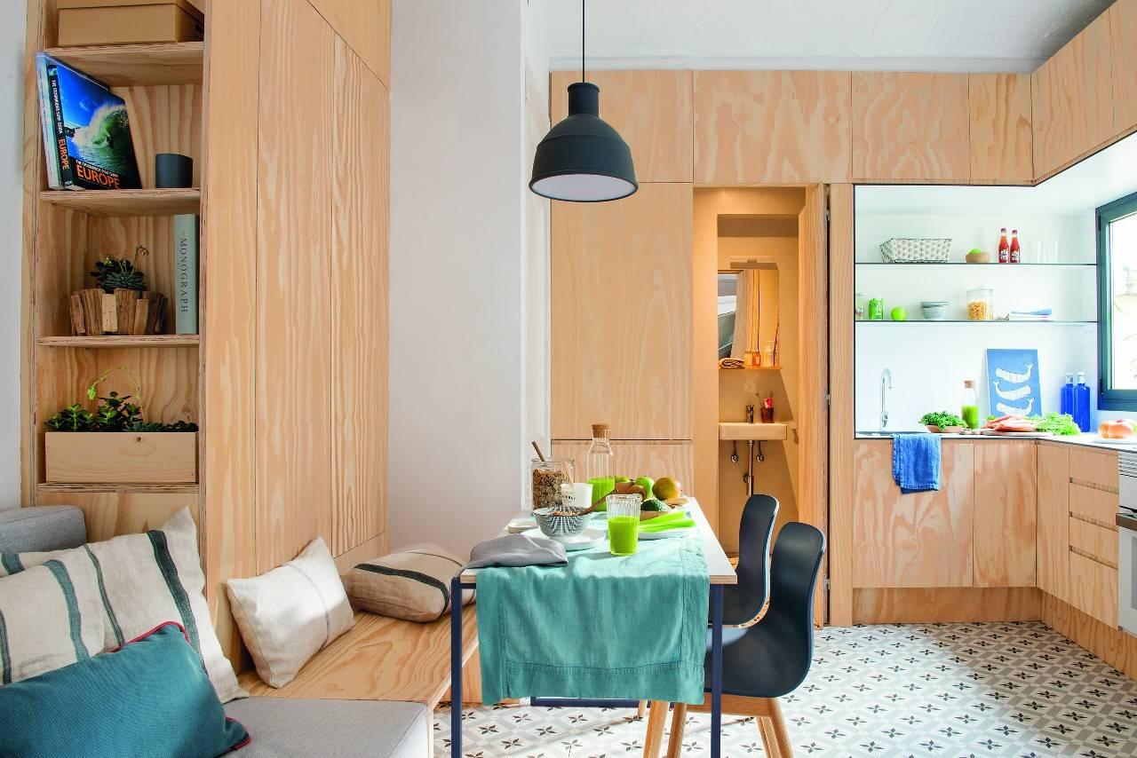 detalle cocina y comedor piso barceloneta. Un piso de 30 m2 en la Barceloneta