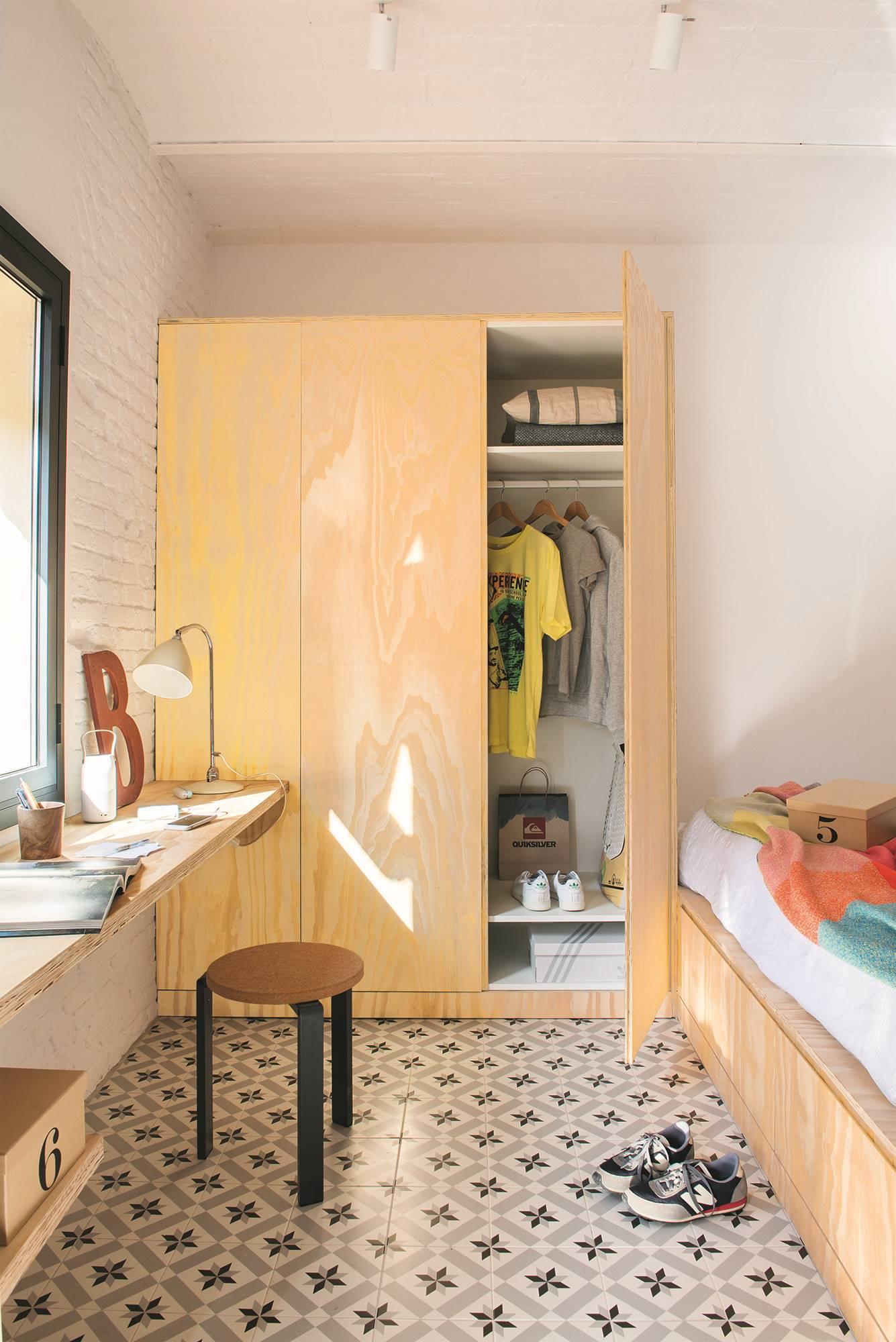 dormitorio Barceloneta almacenaje. Pocos muebles, mucho almacenaje