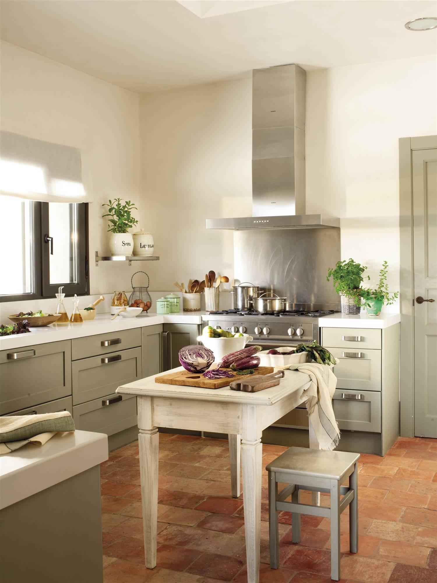 Baked clay shelves.  2. Terracotta floors