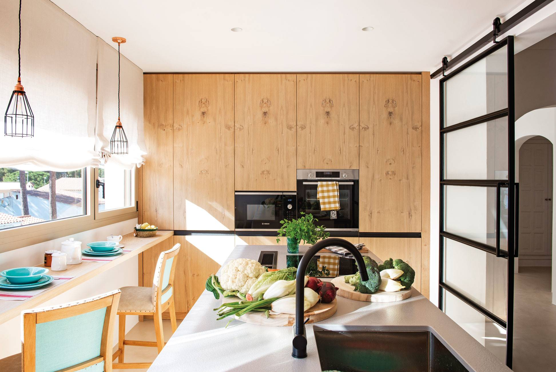 white-and-wood-kitchen-with-wall-shelf-as-table-bar 503927. An elongated kitchen