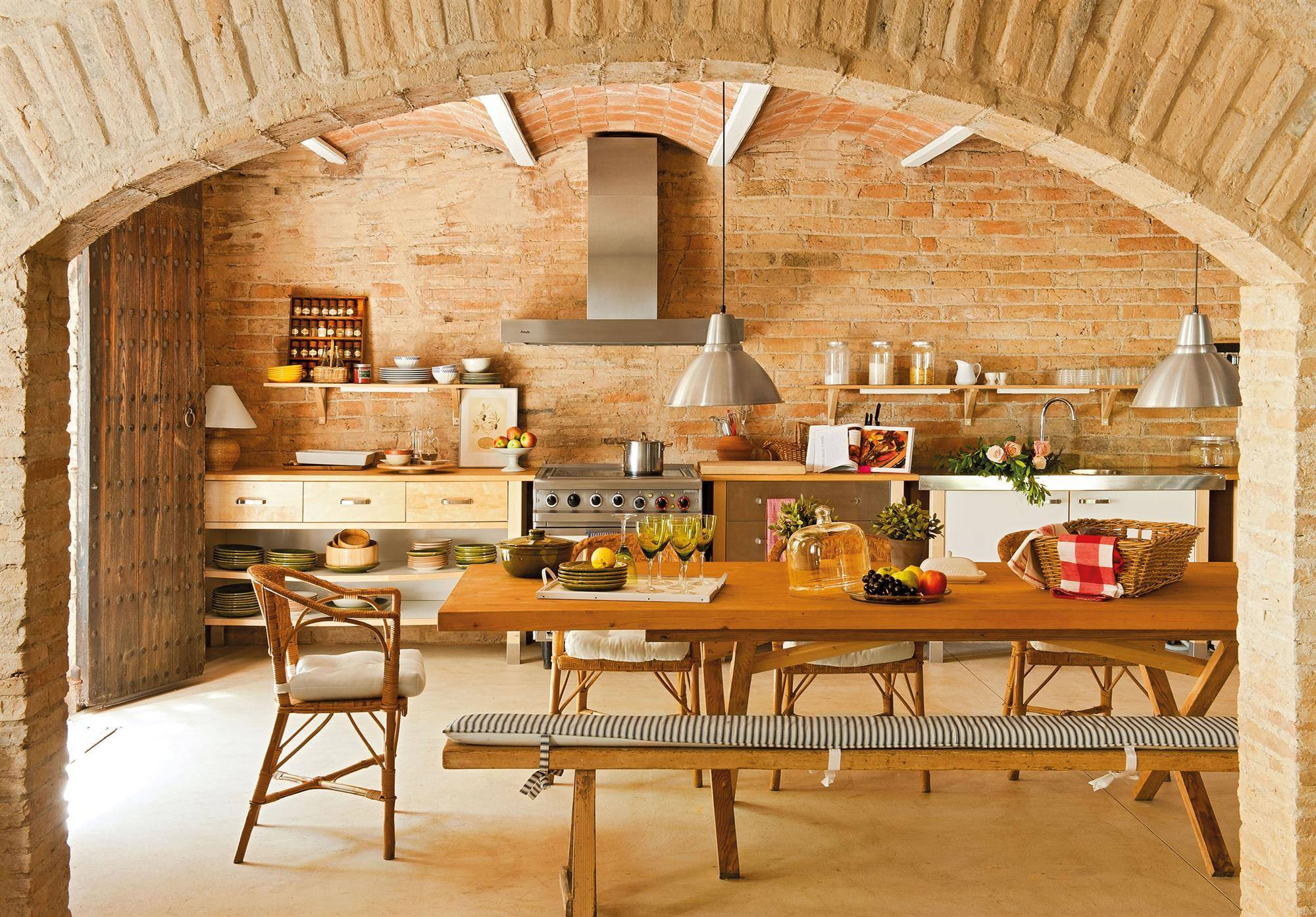 rustic-kitchen-with-exposed-brick-wall-00349197.  Under the arch