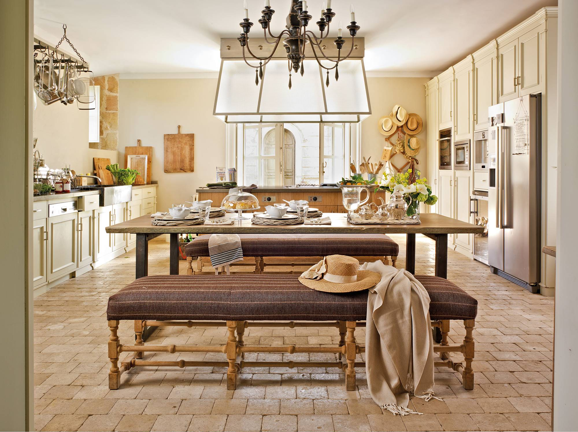 large-country-kitchen-with-cream-island-furniture-and-office-with-benches 9e4775be.  Colonial style