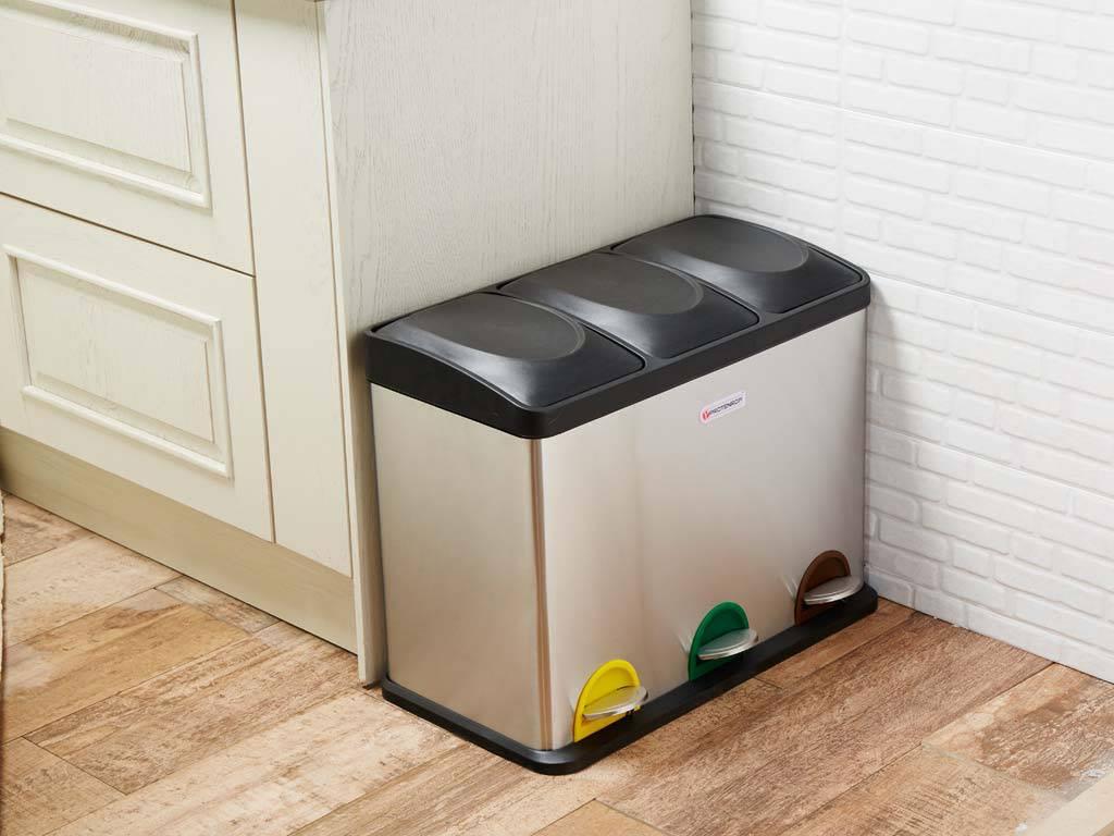 Cubo-basura-pedal-3-en-uno. Cubos de basura y reciclaje