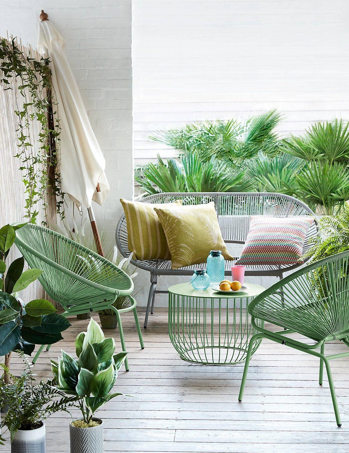 combinar sillas de terraza verdes