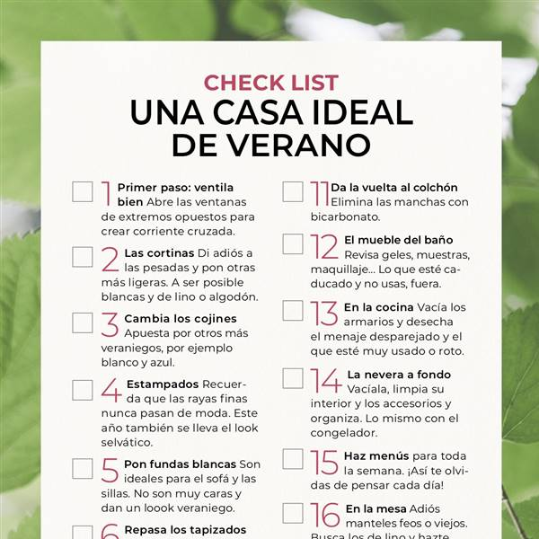 Descargable 'Check list: una casa ideal de verano'