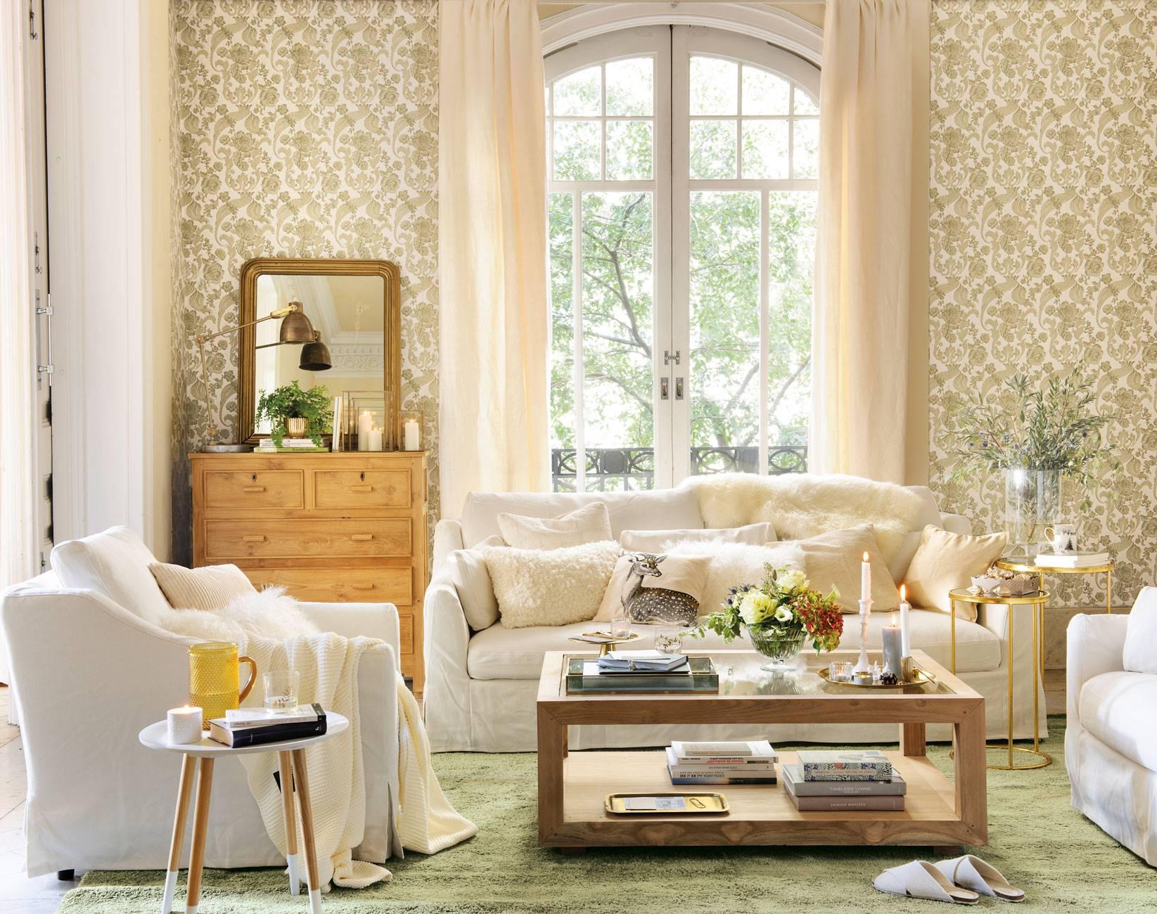 salón-papel-pintado-con-sofás-ikea 470644. Papeles pintados con motivos vegetales